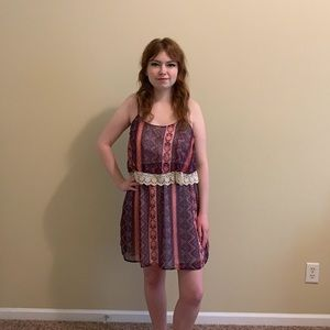 Rue21 Pink & Purple Tribal Pattern Lace Dress